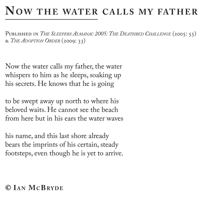 nowthewatercallsmyfather